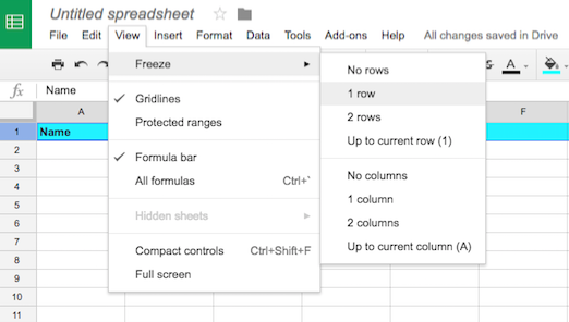 Create a Google Sheets header