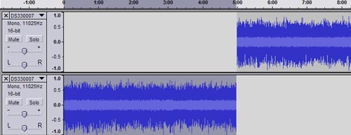 Audacity timeline after track split