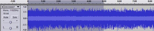 Audacity timeline before track split
