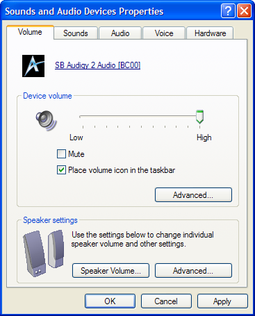 sound and audio devices properties
