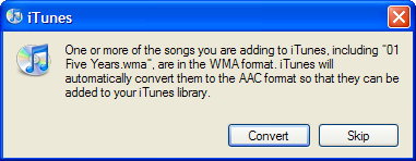 Convert WMA to AAC with iTunes
