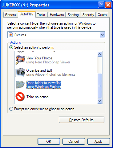Windows Picture AutoPlay Properties