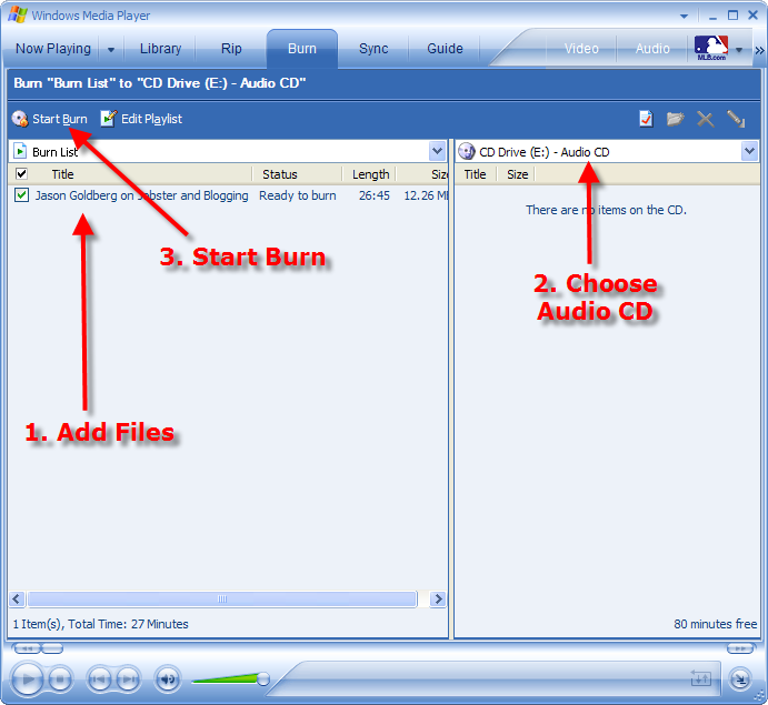 burn podcast CD with Windows Media Player