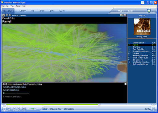 Windows Media Player 10 Interface
